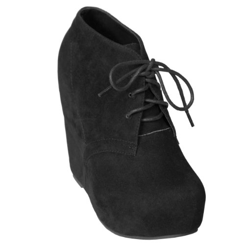 Wedge Bootie Lace Up Womens Hidden Wedge 8 Black 5 Top High Shoe E05TqwT