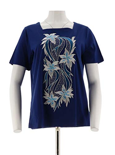Bob Mackie Square Neck Floral Embroidered Knit Top A290704, Navy, (Bob Mackie Embroidered Blouse)