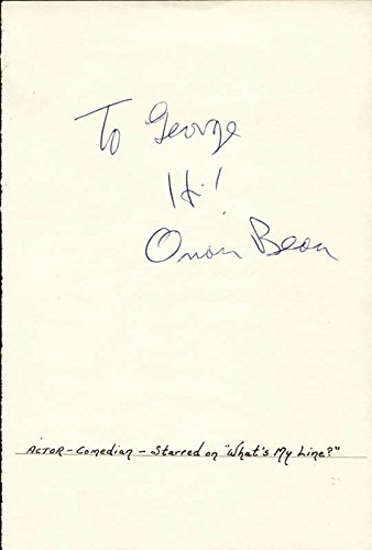 Orson Bean - Autograph Note - Personality Quiz Unique