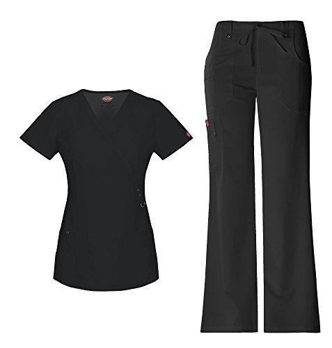Dickies Xtreme Stretch Women's Mock Wrap Scrub Top 85956 Extreme Stretch Drawstring Scrub Pant 82011 Scrub Set (Black - X-Small)