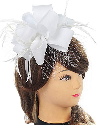 White Fascinator for Women Tea Party Feather Mesh Wedding Headband Kentucky Derby Satin Headwear