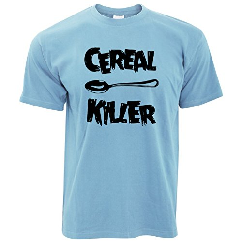 (Tim And Ted Funny Breakfast T Shirt Spoon Cereal Killer Joke Sky Blue M)