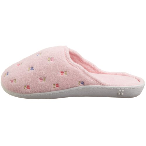 Women's Scalloped Embroidered Isotoner Pink Terry Clog dfqStw