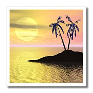 ht_18169_3 Perkins Designs Nature - Sunset Palms palm trees silhouette on tropical island against sunset backdrop - Iron on Heat Transfers - 10x10 Iron on Heat Transfer for White Material
