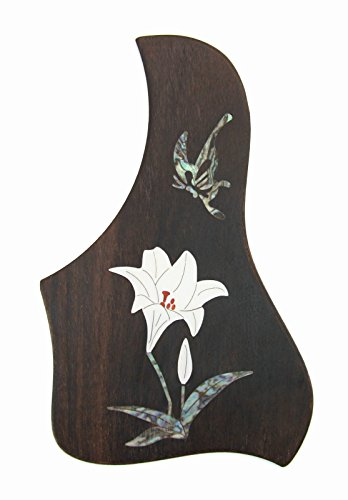 (Guitar Rosewood Pickguard with Plastic Inlay Pattern. Double Side Adhensive Back. Ready to Use. (Lily with Butterfly))