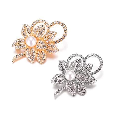 WOWOHE Brooch,Dress Jewelry,Pearl Crystal Brooch Rhinestones Wedding Boutonniere, Clothes Dress Scarf Decoration(2pcs)