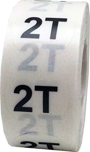 Clear Round Toddler Clothing Size Stickers 2T - Adhesive Labels for Apparel Retail - 500 Total | 0.75 Inches in Diameter - Clear Size Dots With Black Print - Apparel Safe Adhesive | Acid Free | Eco-Friendly Print - 500 Total Size Labels