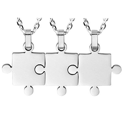Kebaner Big Middle Lil Little Sis Necklaces Set 3 Piece Best Friend Puzzle BFF Pendant Friendship Jewelry