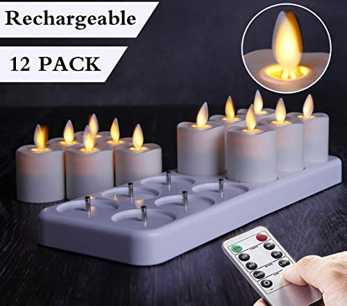Set of 12 Rechargeable LED Electric Candles with Moving wicks, Flameless Flickering Tealight Votive Candles with Remote Timer Controller, Warm White LED, Timer 24 hours Cycle
