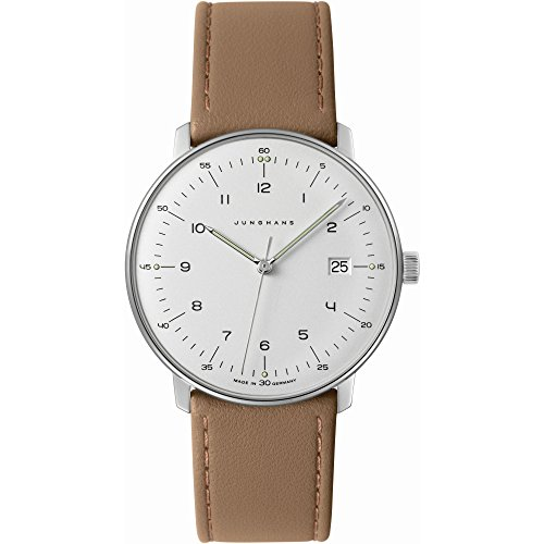 Junghans Men's 'Max Bill' Quartz Stainless Steel and Leather Dress Watch, Color:Beige (Model: 041/4562.00)