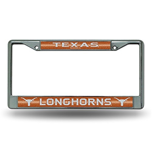 NCAA Texas Longhorns Bling Chrome License Plate Frame with Glitter Accent
