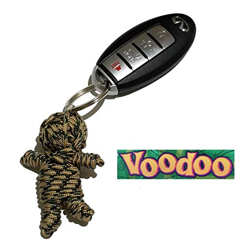 Aryellys Voodoo Doll Keychain Backpack Clip (Sand w/Green and Black Stripes)