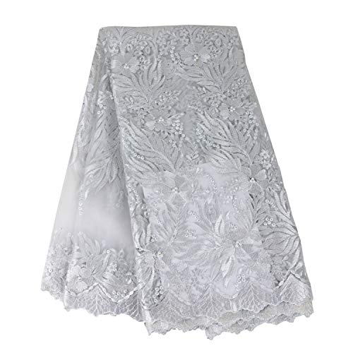 (Aisunne African Lace Fabrics Classics Nigerian French Lace Fabric 5 Yards with Fashion Rhinestones and Embroidered Beading Flower for Wedding Party Dresses (White B))