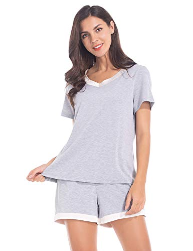 MANCYFIT Pajamas for Women Shorts Set Soft Short Sleeve Sleepwear Grey XX-Large (Two Boxer Shorts)