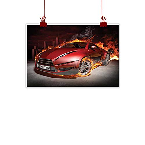 (Anzhutwelve Canvas Prints Wall Decor Art Cars,Red Sports Car Burnout Tires in Flames Blazing Engine Hot Fire Smoke Automobile,Red Black Orange 48