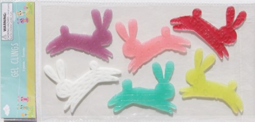 [Springtime Easter Themed Hopping Rabbits Gel Window Clings - 6 Piece] (Bunny Window)