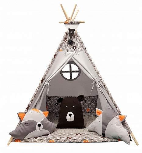 Izabell Kinder Spielzelt Teepee Tipi Set für Kinder drinnen draußen  Spielzeug Zelt Indianer Indianertipi mit Fenster Tipi mit und ohne Zubehör  ...