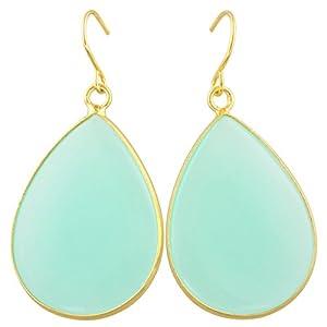 rockcloud Crystal Stone Dangle Hook Earrings Waterdrop Gold Plated