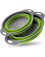 Opvouwbare Vergiet Set Siliconen Keuken Opvouwbare Filter Vergiet Vaatwasser Afvoer Groente- En Pasta Veilig (2 Stuks)-Green