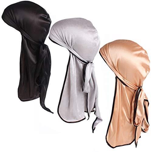 Zando Men Women Durag Long-Tail Headwraps Silky Pirate Cap Smooth Hair Loss Chemo Bandana Beanie Hat For 360 Waves 3 Pack Black Glod Silver