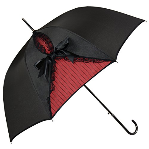 Kung Fu Smith Black Lace Parasol Umbrella for Women, Vintage Victorian Windproof Umbrella, British...
