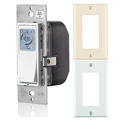 r Programmable Indoor Timer with Astronomical Clock and White and Almond Wall Plates (Leviton Wall Timer)