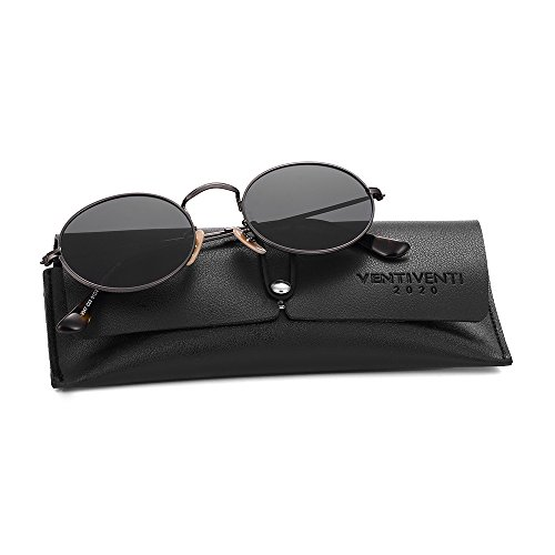 2020VentiVenti Polarized Sunglasses for women/men Round Lens Stainless Steel Metal Frame with Sun Glasses Case for Steampunk17032C02 (Gunmetal Black, Smoke) (For Oval Women Sunglasses)