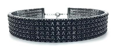 "LuxeLife Black Rhinestone Choker 3 5 8 Row Women's Crystal Necklace Diamond Collar with 5"" Extender"