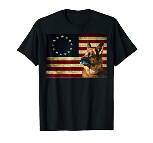 - Betsy Ross Flag German Shepherd shirt Patriot American Flag T-Shirt