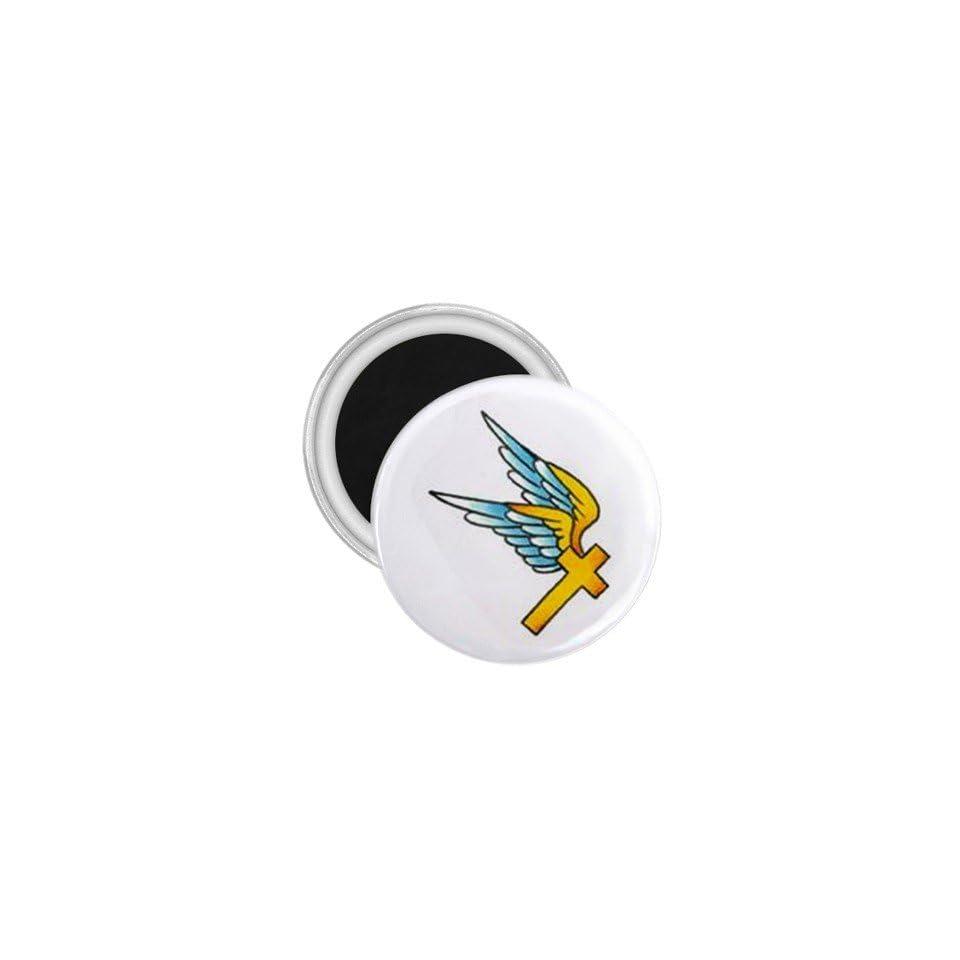 Tattoo Cross Fly Art Fridge Souvenir Magnet 2.25