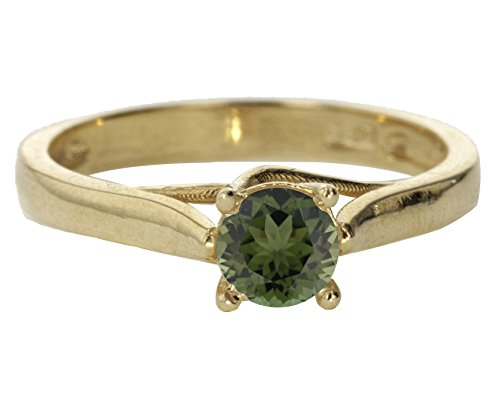14k Yellow Gold Faceted Natural Genuine Green Emerald Round Solitaire Vintage Engagement Ring Size 6 by Sac Silver