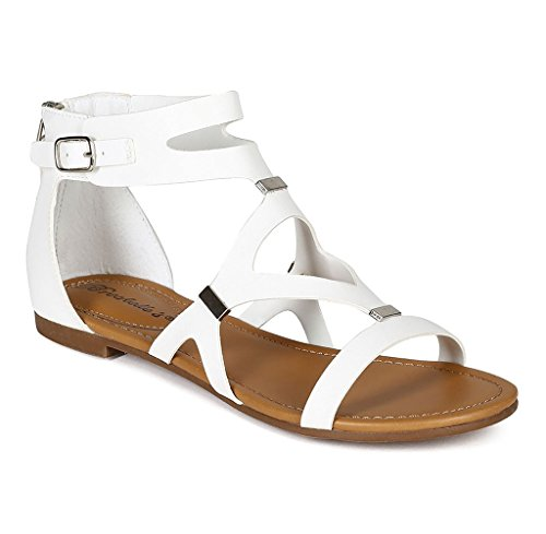 Breckelles Mujeres Ruby-51 Cutout Gladiator Sandal New White