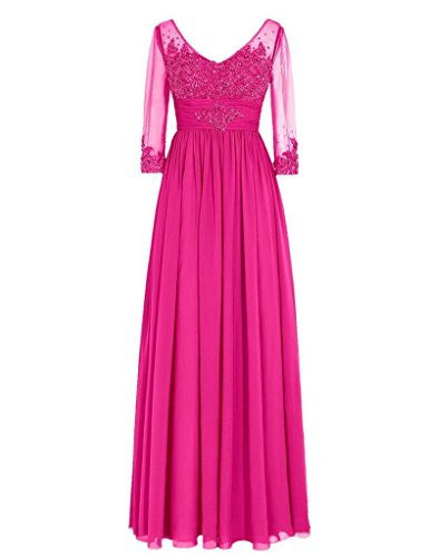 Lace The Dresses Of D Mother H Sleeves Prom S Bride Sequins Gowns Illusion Fuchsia Long UXxzqw