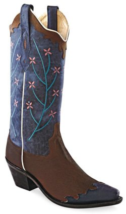 Cowboy Boots Boot Tip (Old West Blue Womens Oily Leather 12in Snip Toe Wingtip Cowboy Boots 8.5 B)