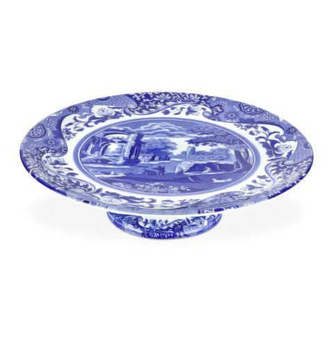 Spode Blue Italian Footed Cake Plate by Spode