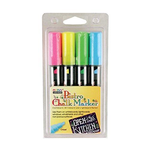 Uchida 483-4H Chisel Tip Bistro Chalk Marker Set, Fluorescent Colors (Buy Bistro Set)