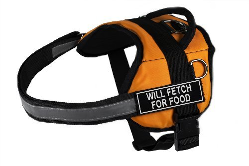Dean & Tyler DT Works Fun Harness ''Will Fetch For Food'' Pet Harness, Large, Fits Girth Size 34-Inch to 47-Inch, Orange/Black by Dean & Tyler