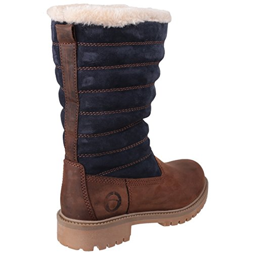 COTSWOLD Women's RIPPLE Suede Mid Calf Lined Boot Brown/Blue aT9ABy