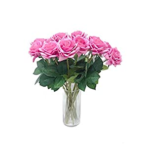 Rae's Garden Artificial Flowers Realistic Fake Flowers Real Touch Roses Bridal Wedding Bouquet Arrangements Party Baby Shower Wedding Home Decorations 10 Pcs(Purple) 82