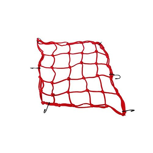 "Heavy-Duty Cargo Net for Motorcycles, ATVs - Stretches,6 Hooks Hold Down Fuel Tank Bag Helmet Cargo Tanked tkd Racing Net Bungee Cord Luggage Net around 12""*12"" ... (red)"