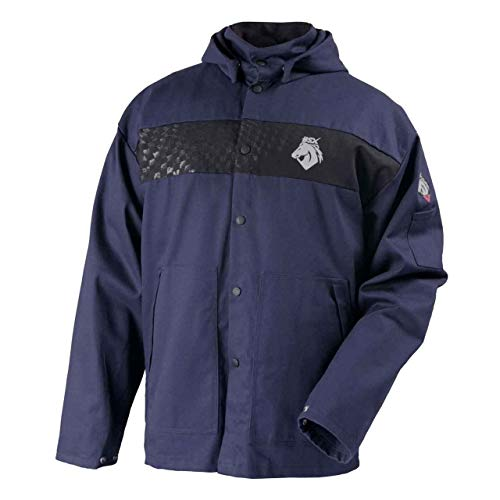 - Black Stallion JF1633-NB BSX Hooded Welding Jacket, FR Cotton, Medium