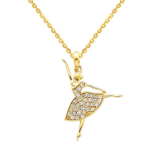 Wellingsale 14k Yellow Gold Polished Ballerina CZ Cubic Zirconia Charm Pendant with 1.2mm Side Diamond Cut Cable Chain Necklace - 22