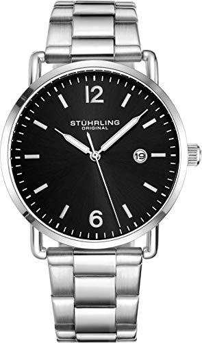 Stuhrling Original Wrist Watch Silver Bracelet Black Dial Black Dial - Vintage Style 38mm Case and Lugs with Date - 3901 Mens Watch Collection