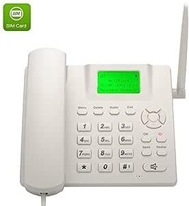BW inalámbrico Quad Band GSM teléfono de escritorio – Pantalla LCD de 2,4 pulgadas, batería recargable, identificador de llamadas, Redial, funciones manos libres – blanco: Amazon.es: Electrónica
