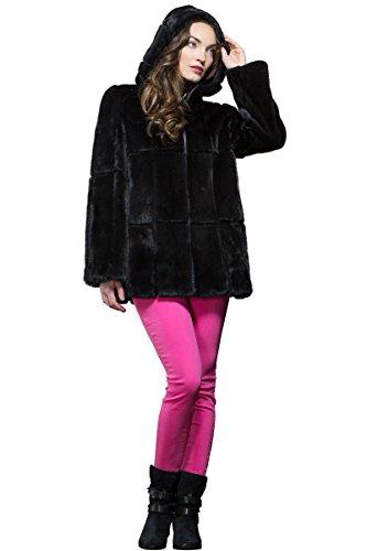 Sheared Mink Jacket - EM-EL Women's Hooded Long Hair Black and Sheared Mink Fur Jacket