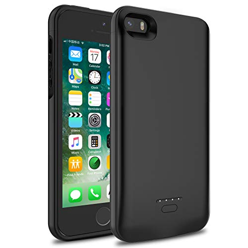 iPhone 5/5S/SE Battery Case, Wavypo 4000mAh Ultra Slim Extended Rechargeable Charger Case External Battery Pack Portable Power Bank Protective Charging Case for iPhone 5, 5S, SE (Black)