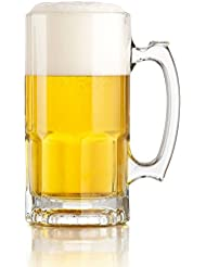 Libbey One Liter German Style Extra Large Glass Beer Stein Super Mug, 34 Ounce (1)
