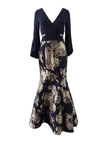 Xscape X Women's Metallic Mermaid Gown (10, Navy/Champagne)