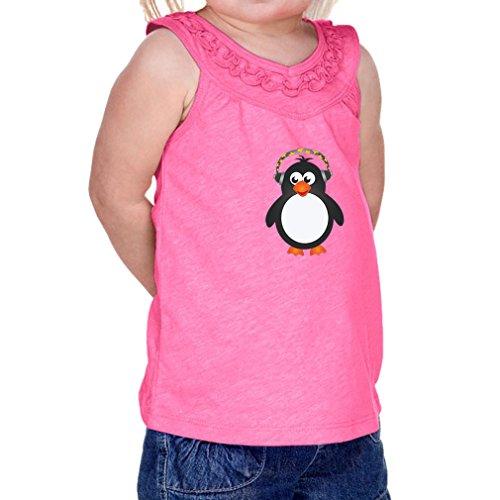 Penguin Headphone Infants Jersey V Neck Ruffle Yoke Tank Hot Pink 18 (Penguin V-neck Jersey)