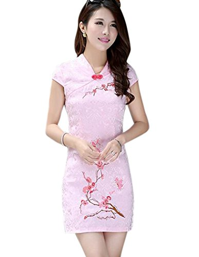 - Aro Lora Women' Vintage Embroidery Chinese Traditional Cheongsam Dress US 4-6 Pink